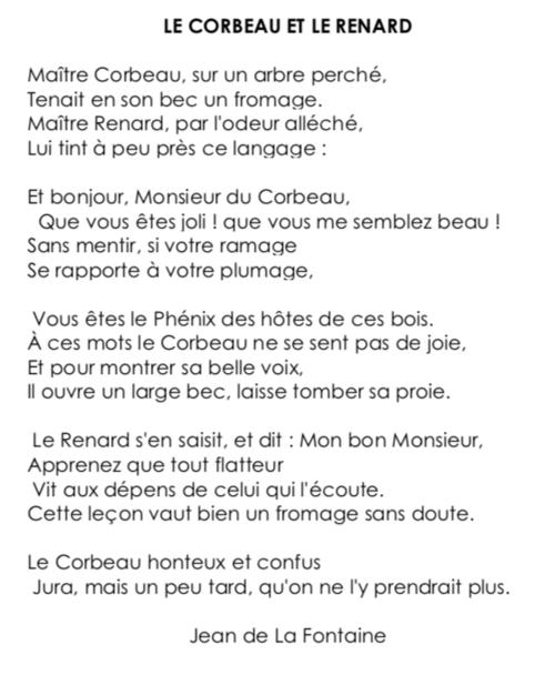 Poésie CE2 : «Le corbeau et le renard» (Jean de La Fontaine)