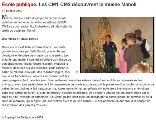 LE TÉLÉGRAMME - 11/10/2012 - Les CM1-CM2 découvrent le musée Manoli.