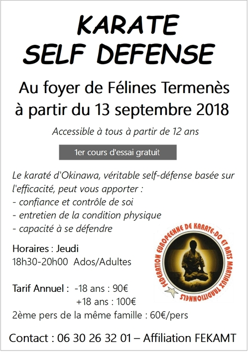 Karaté/Self Défense à Félines Termenès