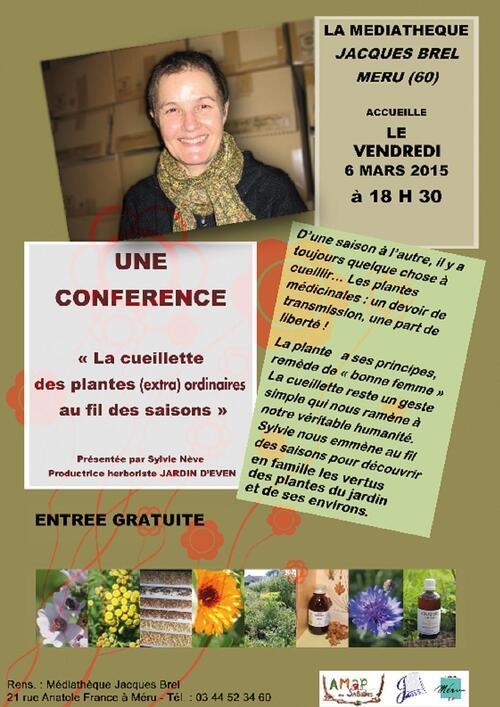 conférence Sylvie Nève le vendredi 6 mars 18h30 médiathèque de Méru