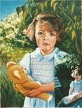 Petite fille au nounours, acrylique sur toile
