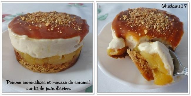 Pomme caramélisée et mousse de caramel sur lit de pain d'épices