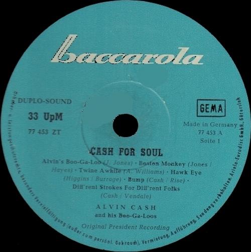"""1968 : Album """" Cash For Soul """" Baccarola Records 77453 ZT [ GE ]"""