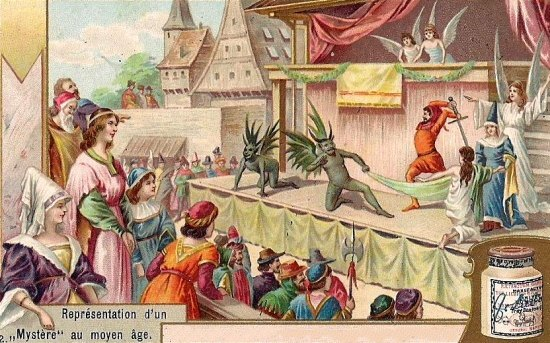 Représentation d'un mystère au Moyen Age