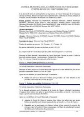 Conseil municipal du jeudi 9 septembre 2013