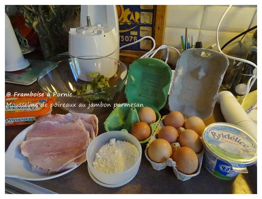 Mousseline de poireaux , jambon, parmesan