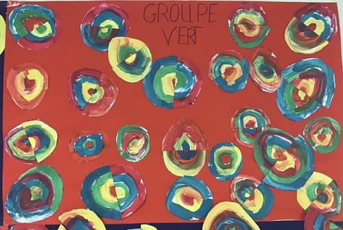 Les ronds : tableau à la manière de Delaunay