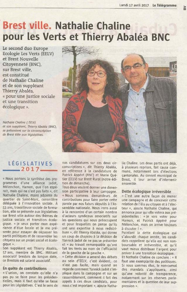 Législatives 2017 : Rassemblement de l'Autre Gauche-BNC et d'EELV