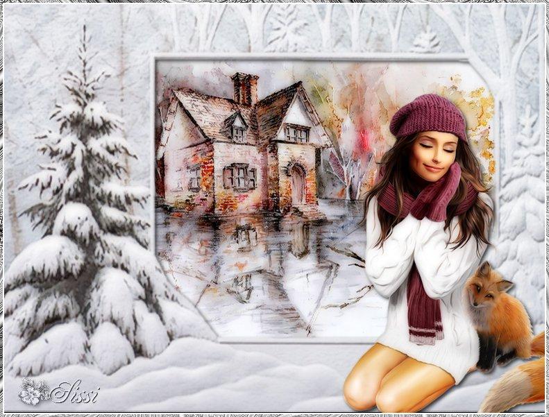 * Décembre  Saison Hivernale * Cadre défi Monia *