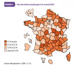 Carte de France part des élèves handicapés à la rentrée 2013 par département