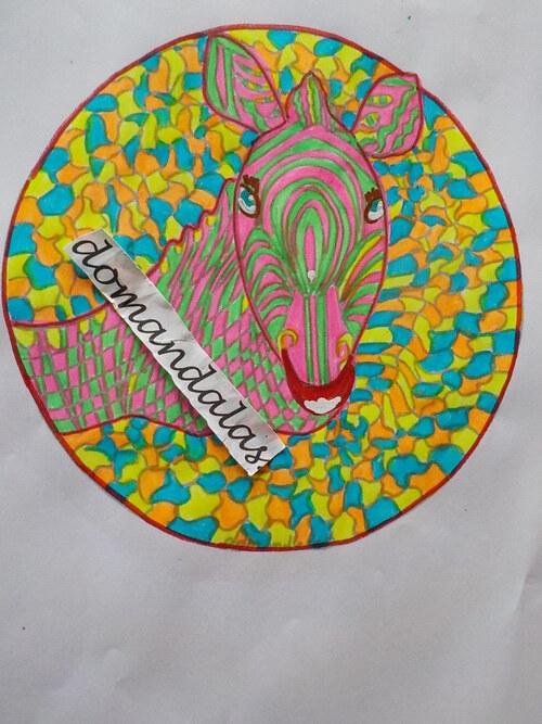 domandalas coloriages plusieurs essais zèbre création personnelle