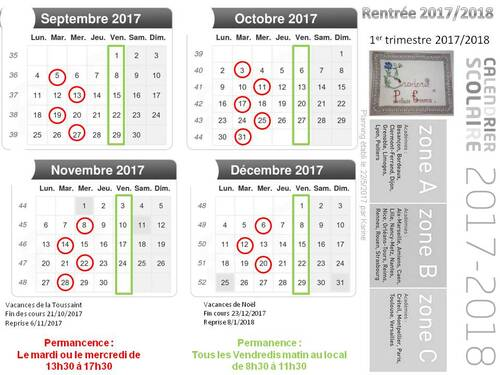 Rentrée 5/9/2017 : Permanence du club + le planning