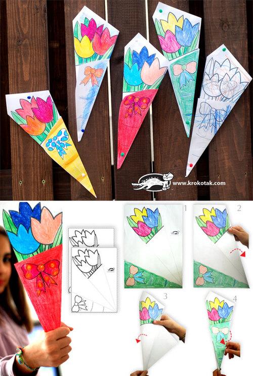 Un bouquet à colorier pour Maman