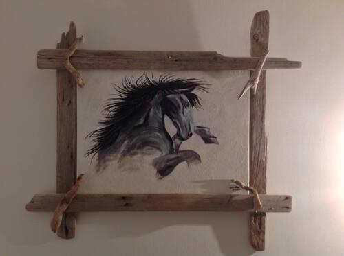 peinture et cadre bois flotté création mumu