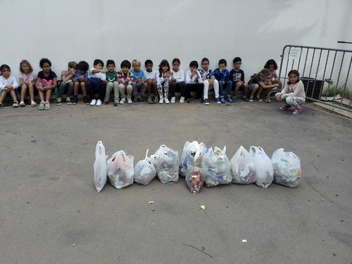 Tri des déchets de l'école.