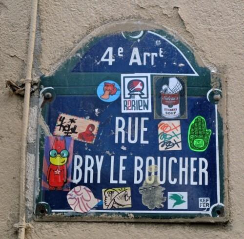 Plaque de rue sticker Aubry