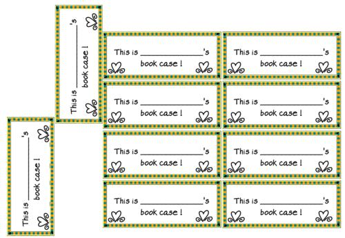 organisation de la classe : étiquettes pour dossier range-livres : book case