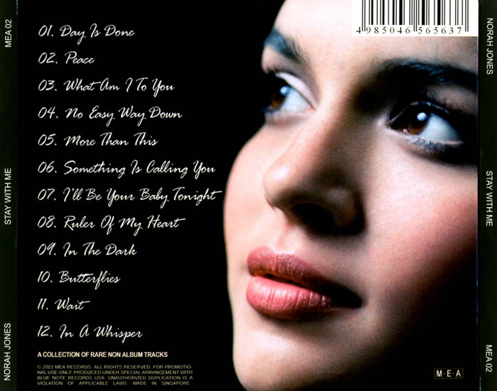 "Norah Jones : CD "" Stay With Me "" M.E.A Records MEA 02 [ SG ]"