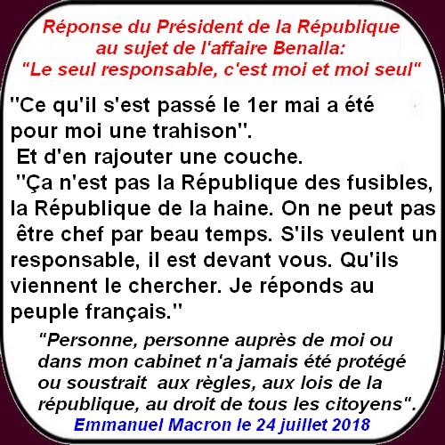 Spécial réponse de Macron au sujet de Benalla.
