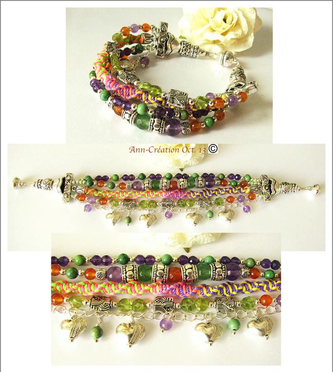 Gipsy Orange-Violet - Bracelet Multi rangs Cornaline, Améthyste... / Plaqué argent