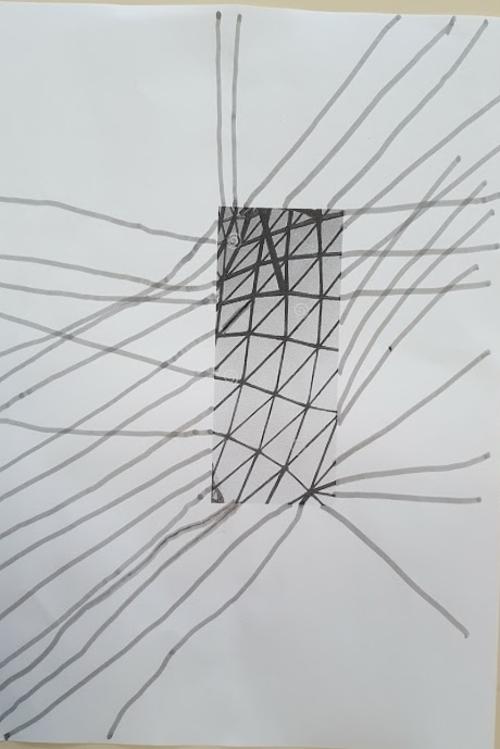 Graphisme: prolongement d'une toiture en verre, obliques MS