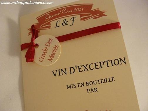Faire part mariage étiquette bouteille vin