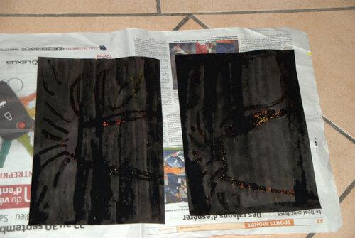 Les volcans : encres, drawing-gum, encre de Chine...