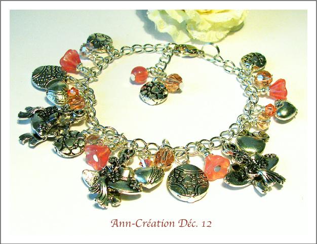 Bracelet Breloques Rose / Métal argenté