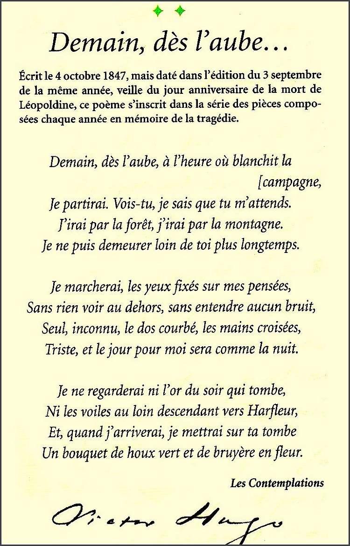 """""""  Demain à l'aube """" poème de Victor Hugo"""