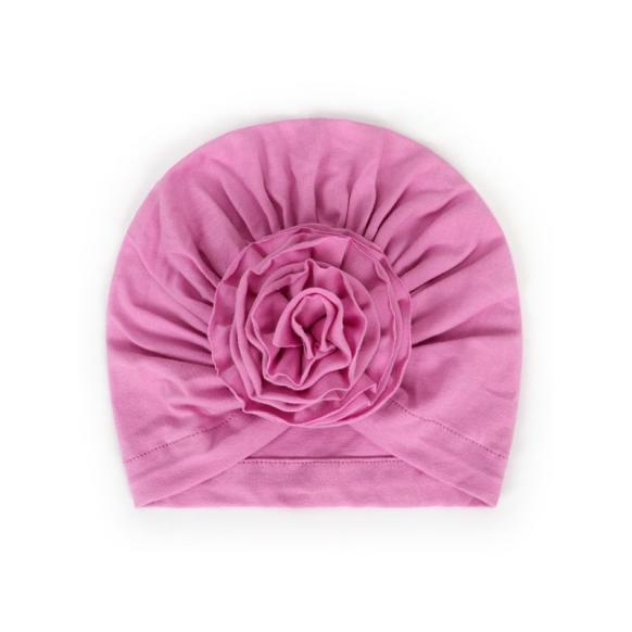 kiskissing wholesale girls solid color flower turban hat