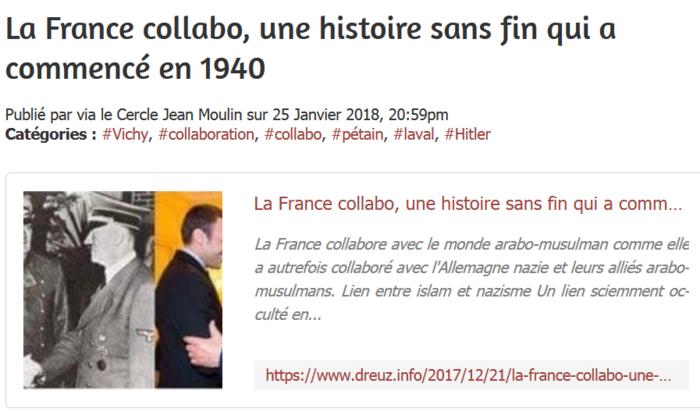 """Communiqué à mes amis lecteurs : le site """" Cercle Jean Moulin """" dérape... enfin c'est mon avis, j'attends une explication !!!"""