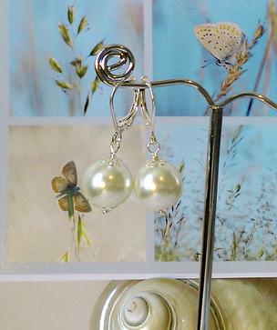 Boucles Dormeuses - Perles de verre nacré renaissance blanc crème 12mm / plaqué argent