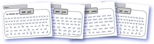 Des fiches pour entrainer la reconnaissance directe des mots outils