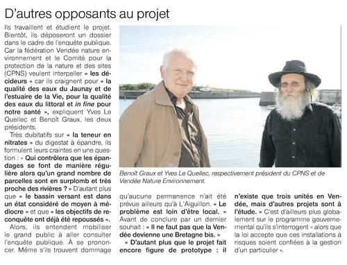 À propos du projet de méthanisation à la ferme de L'Aiguillon-sur-Vie.