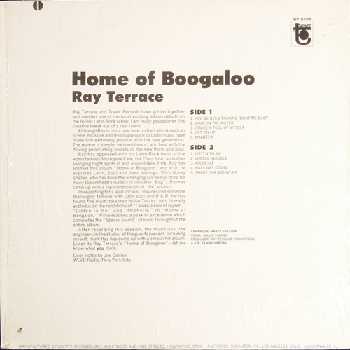 "Ray Terrace : Album "" Home Of Boogaloo "" Tower Records ST 5105 [ US ]"