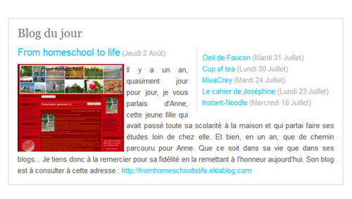 Blog du jour From homeschool to Life