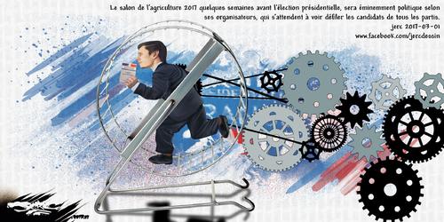 dessin de JERC mercredi 01 mars 2017 caricature élection caricaturale Au salon de l'agriculture il y a aussi des animaux de compagnie www.facebook.com/jercdessin