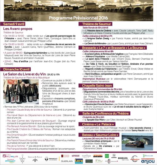 Journées Nationales du Livre et du Vin de Saumur - 09 et 10 avril 2016