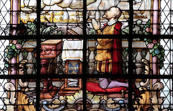 vitraux  ,Witraż,ステンドグラス, Vetrata,花窗玻璃,Eglise Saint-Nicolas  ,mons ,,Bèljike,orlando ,di lasso, églîje di Sint-Glasmalerei,-èn-Avré, – Vitrau do,l tchapèle ,da Sint Agapit mètu, treûsin.me cintenaîre dol mwârt ,di Roland di Lassus t, l' musicyin, montwès, priyant ,sinte Cécile.