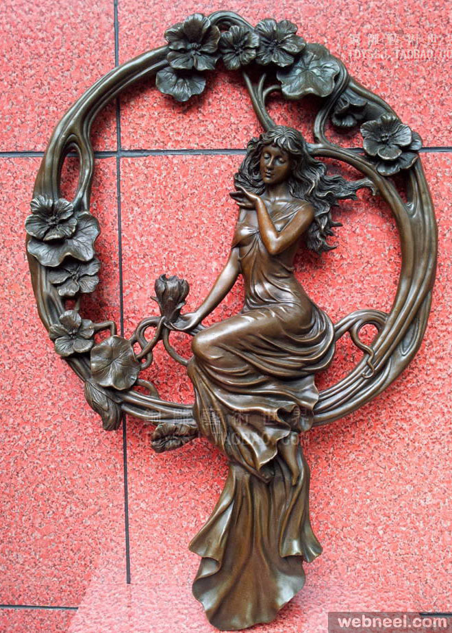girl copper wall decoration sculpture