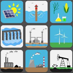 Energy sources icons set