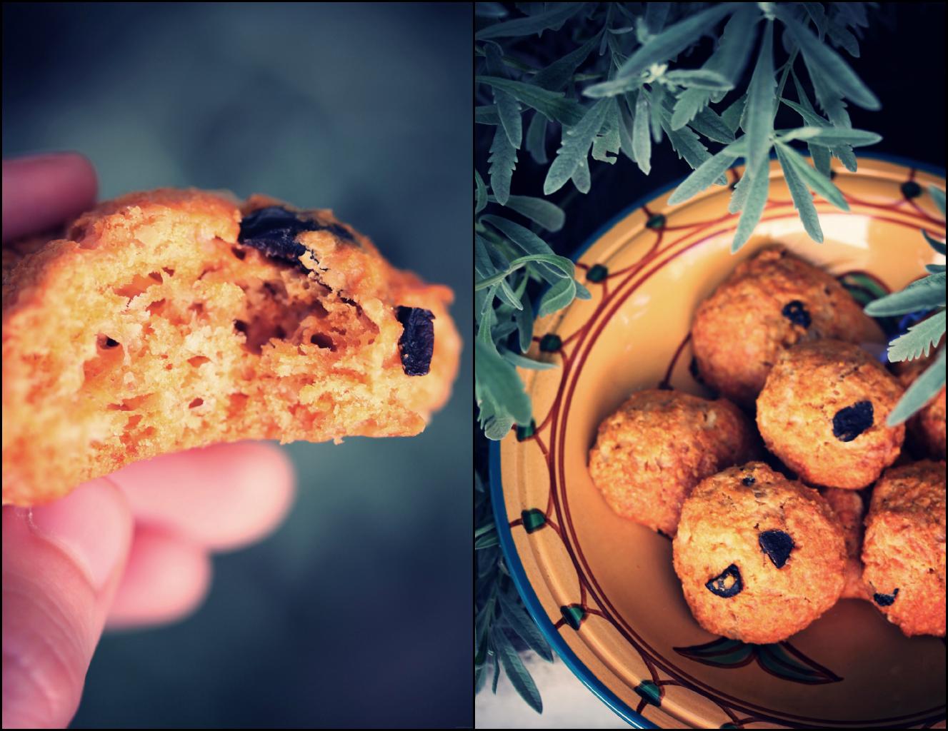 Cookies salés au son d'avoine {piment d'espelette et olives noires}