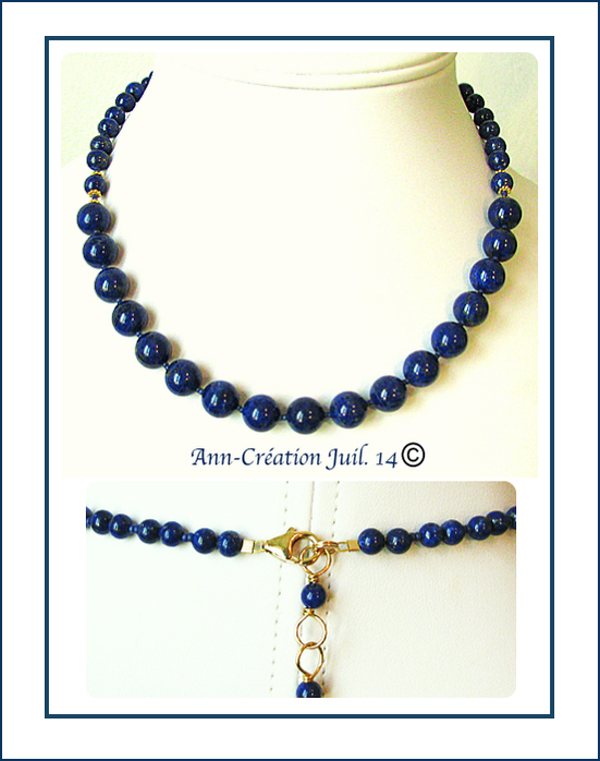 Collier Lapis-Lazuli naturel / Plaqué Or 14 kt Gold Filled