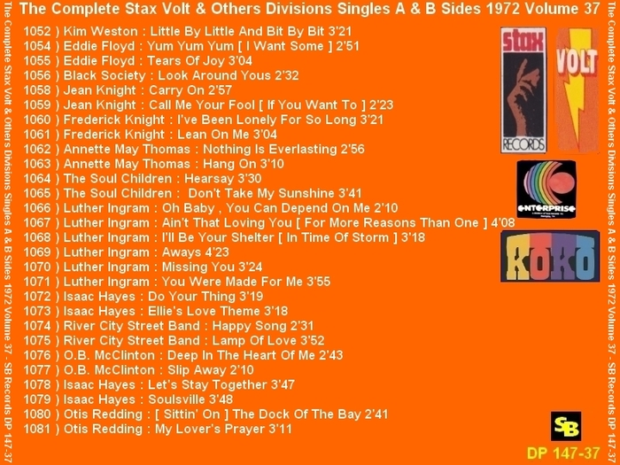 """ The Complete Stax-Volt Singles A & B Sides Vol. 37 Stax & Volt Records & Others Divisions "" SB Records DP 147-37 [ FR ]"