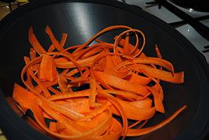 Timbale de courgette et tagliatelle de carotte