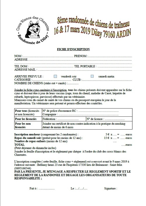 Inscription randonnée de Dilay 2019