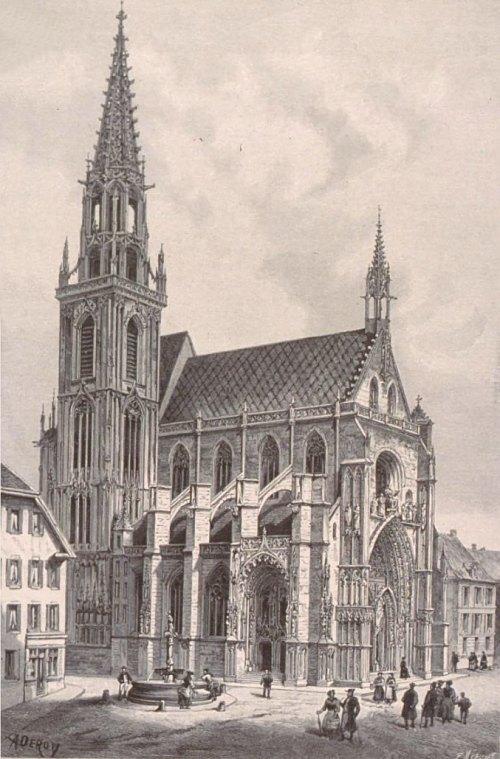 Collégiale Saint-Thiébault de Thann. Gravure d'Isidore Deroy (1889)