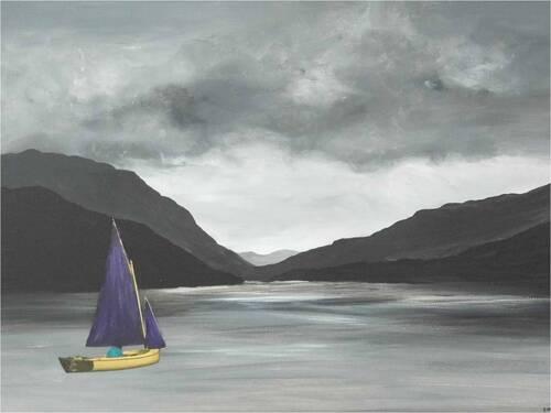 Paysages en noir et blanc,  acrylique & collage