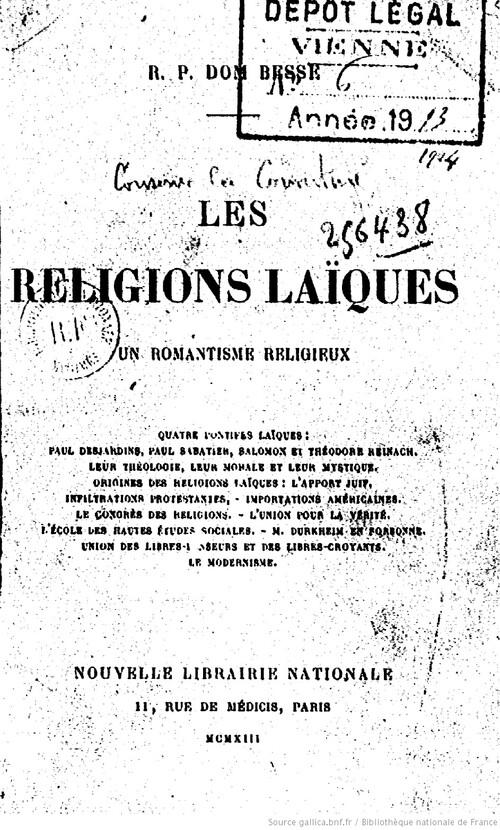 Dom Besse - Les religions laïques, un romantisme religieux (1913)
