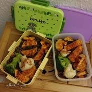 Bento d'hiver pour 2 repas (brocolis, choux fleur, patate douce rôtie, lentilles vertes)